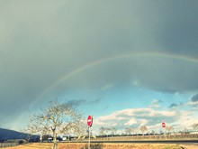 Low Angle View Of Rainbow In Sky Over Landscape