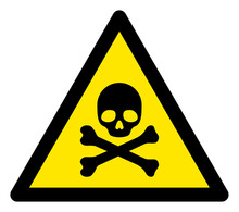Vector Skull And Bones Flat Warning Sign. Triangle Icon Uses Black And Yellow Colors. Symbol Style Is A Flat Skull And Bones Attention Sign On A White Background. Icons Designed For Notice Signals,