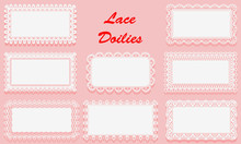 Set Of Decorative White Lace Doilies. Openwork Rectangular Frame On A Pink Background. Vintage Paper Cutout Design.