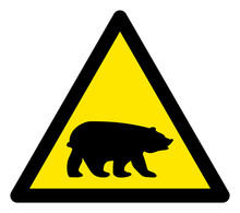 Vector Bear Flat Warning Sign. Triangle Icon Uses Black And Yellow Colors. Symbol Style Is A Flat Bear Hazard Sign On A White Background. Icons Designed For Notice Signals, Road Signs,