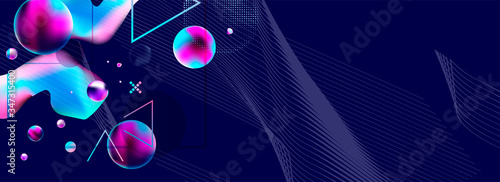 Dark retro futuristic art neon abstraction background cosmos new art 3d starry sky glowing galaxy and planets blue circles - 347315400