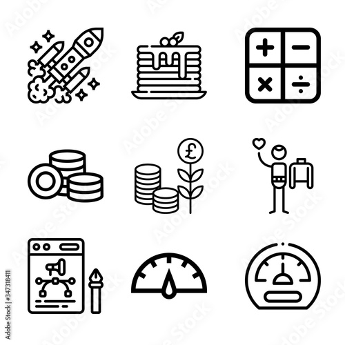 Valokuvatapetti Set of 9 rick lineal icons