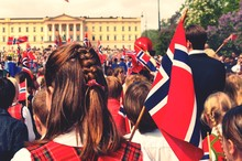 People Celebrating Norwegian Festival