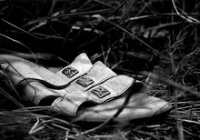 Close-up Of Abandoned Sandal On Field