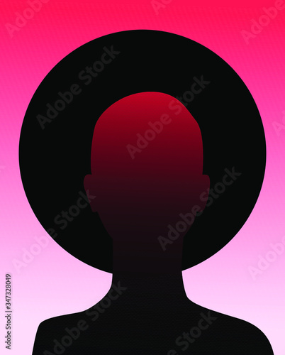 Photo Human silhouette with black halo disk behind head