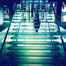 Upside Down Image Of Transparent Steps In Store