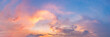 Leinwandbild Motiv Twilight panorama sky background with colorful cloud in dusk. Panoramic image.