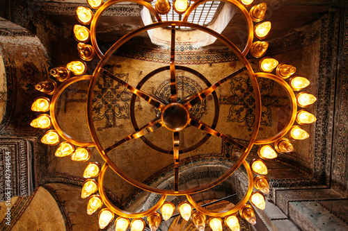 Interior Of Illuminated Hagia Sophia Canvas Print