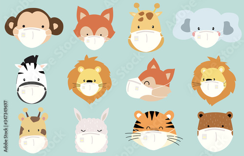 Obraz Cute animal object collection with lion,fox,zebra,tiger, monkey, giraffe wear mask.Vector illustration for prevention the spread of bacteria,coronviruses - fototapety do salonu