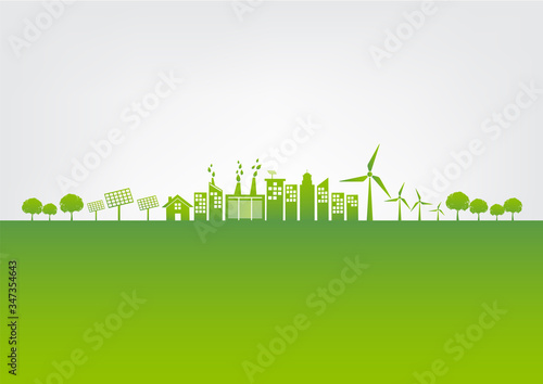 Green city for world environment day and sustainable development concept, vector illustration