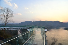 Beautiful Glass Sky Walk At Viewpoint New Landmark Thailand Skywalk, At Phra Yai Phu Khok Ngio Chiang Khan District, Loei Province, Mekong River Thailand And Laos PDR. Of A Popular Tourist Attraction