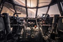 Interior Of Abandoned Cockpit