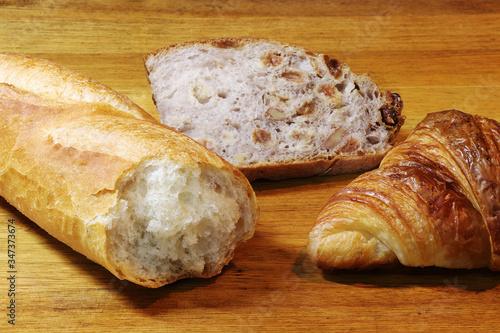French bread (baguette, croissant, pain aux raisins) Canvas Print