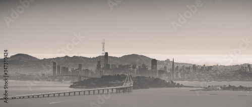 San Francisco. view from Berkley. Bay Bridge. Downtown Canvas Print