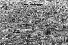 Black And White Aerial View Of Marseille Historic Center Seen From Notre Dame De La Garde Viewpoint, France