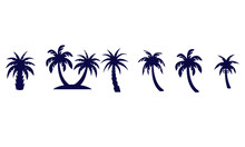 Palm Trees Icons Set Vector D...