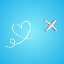Love Travel Concept Illustration In Vector. Airplane Flying And Leave A White Line On Blue Background.