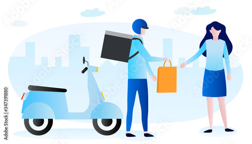 Cuadros en Lienzo A woman receives motorbike food delivery item in a paper bag with city background