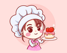 Cute Bakery Chef Girl Holding A Cake Smiling Cartoon Art Illustration Logo. Premium Vector