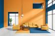 Leinwanddruck Bild - Orange and blue living room interior