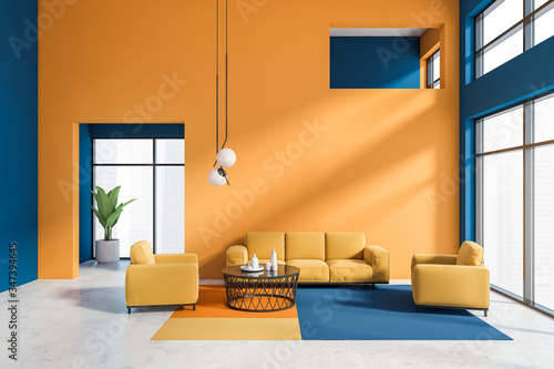 Orange and blue living room interior