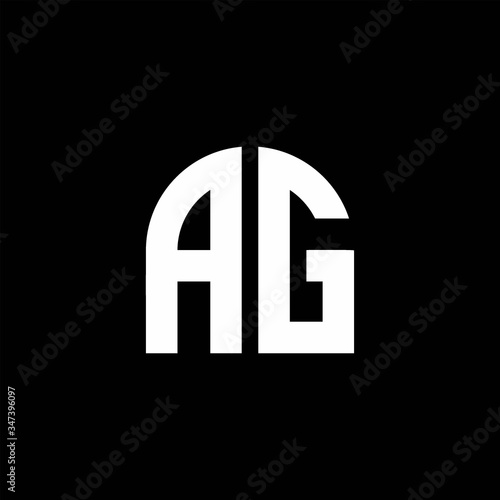 Photo AG monogram logo with curve shape design template