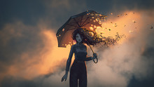 Mysterious Woman Holds The Burning Umbrella Standing Against Sunset Sky Background, Digital Art Style, Illustration Painting