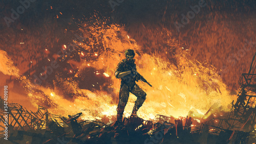 Fototapeta a soldier with his gun standing against fire background and looking at viewer, digital art style, illustration painting obraz