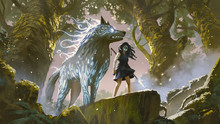 Wild Girl With Her Wolf Standi...