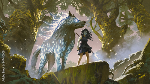 Naklejki wilk  wild-girl-with-her-wolf-standing-in-the-forest-digital-art-style-illustration-painting