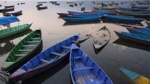 High Angle View Of Rowboats Moored In Phewa Lake