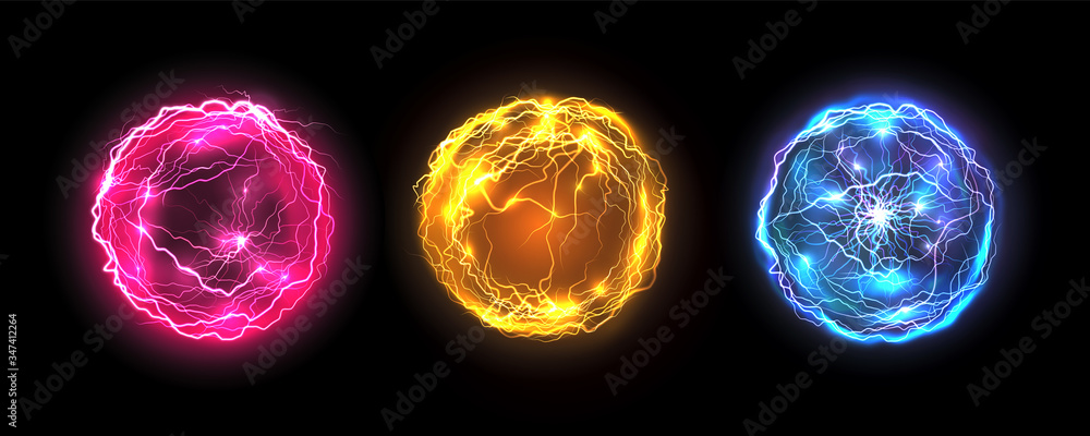 Fototapeta Energy balls and plasma sphere, vector electric lightning and light flash sparks. Magic lightning discharge, red pin, blue purple and golden yellow color realistic energy balls, electric light burst