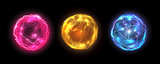 Energy balls and plasma sphere, vector electric lightning and light flash sparks. Magic lightning discharge, red pin, blue purple and golden yellow color realistic energy balls, electric light burst