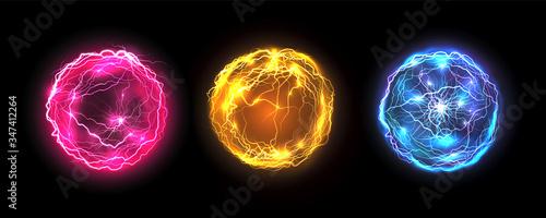 Obraz Energy balls and plasma sphere, vector electric lightning and light flash sparks. Magic lightning discharge, red pin, blue purple and golden yellow color realistic energy balls, electric light burst - fototapety do salonu