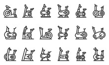 Exercise Bike Icons Set. Outli...