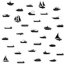 Seamless Background Of Ships A...