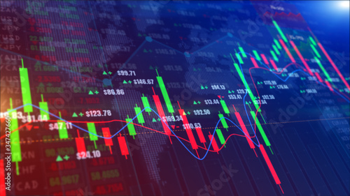 Digital stock market or forex trading graph and candlestick chart suitable for financial investment Canvas Print