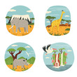 Set of abstract design with African animals