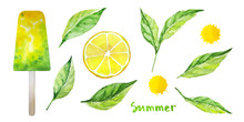 Mint Leaves, Lemon Slice, Yellow Juice Drops, Yellow Green Popsicle. Isolated Ingredients For Healthy Homemade Lemon Mint Ice Cream. Fruit Ice Pops. Summer Sweets. Warercolor Illustration.