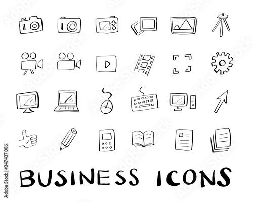 Canvastavla カメラ,動画,パソコン,ビジネス等の手書きラフアイコンセット