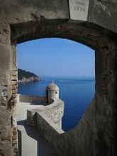 Dubrovnik Tower On Sea Against Blue Sky