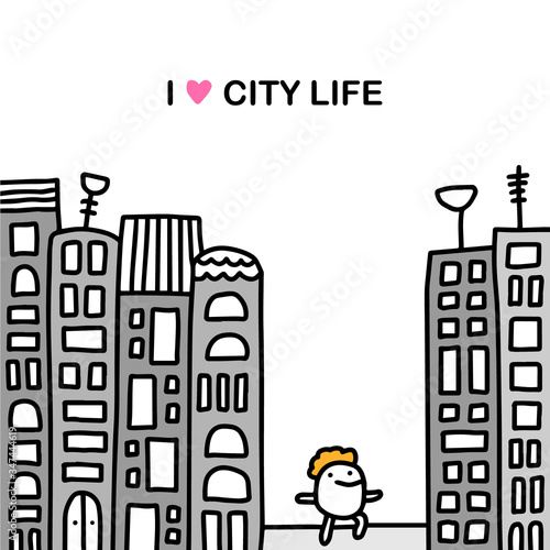 I love city life hand drawn vector illustration in cartoon comic style man walki Canvas Print