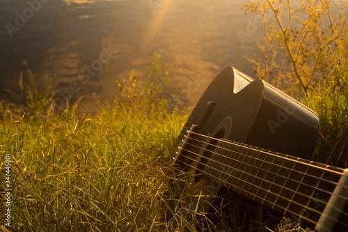 High angle shot of a guitar on the grass - perfect for background Slika na platnu