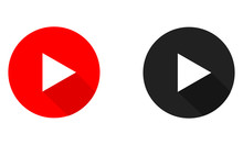 Play Button Vector Flat Icon, Video And Audio Symbol.
