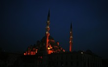 Low Angle View Of Yeni Cami Mosque Against Sky At Night