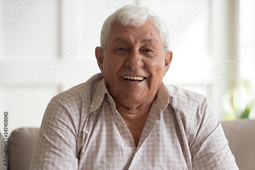 Fototapeta Portrait of happy mature 80s man sit on couch at home look at camera posing relaxing on weekend, smiling positive senior 70s grandfather rest on sofa at home or retirement house, show optimism obraz