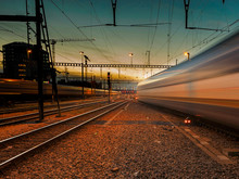 Blurred Motion Of Train Against Sky