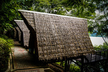 Row Of Thatched Roof Huts