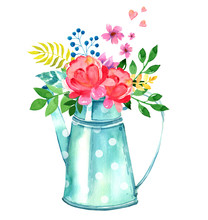 Watercolor Garden Watering Can...