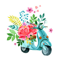 Vintage Blue Watercolor Scooter With Flower, Leaves And Hearts, Romantic Hand Drawn Illustration